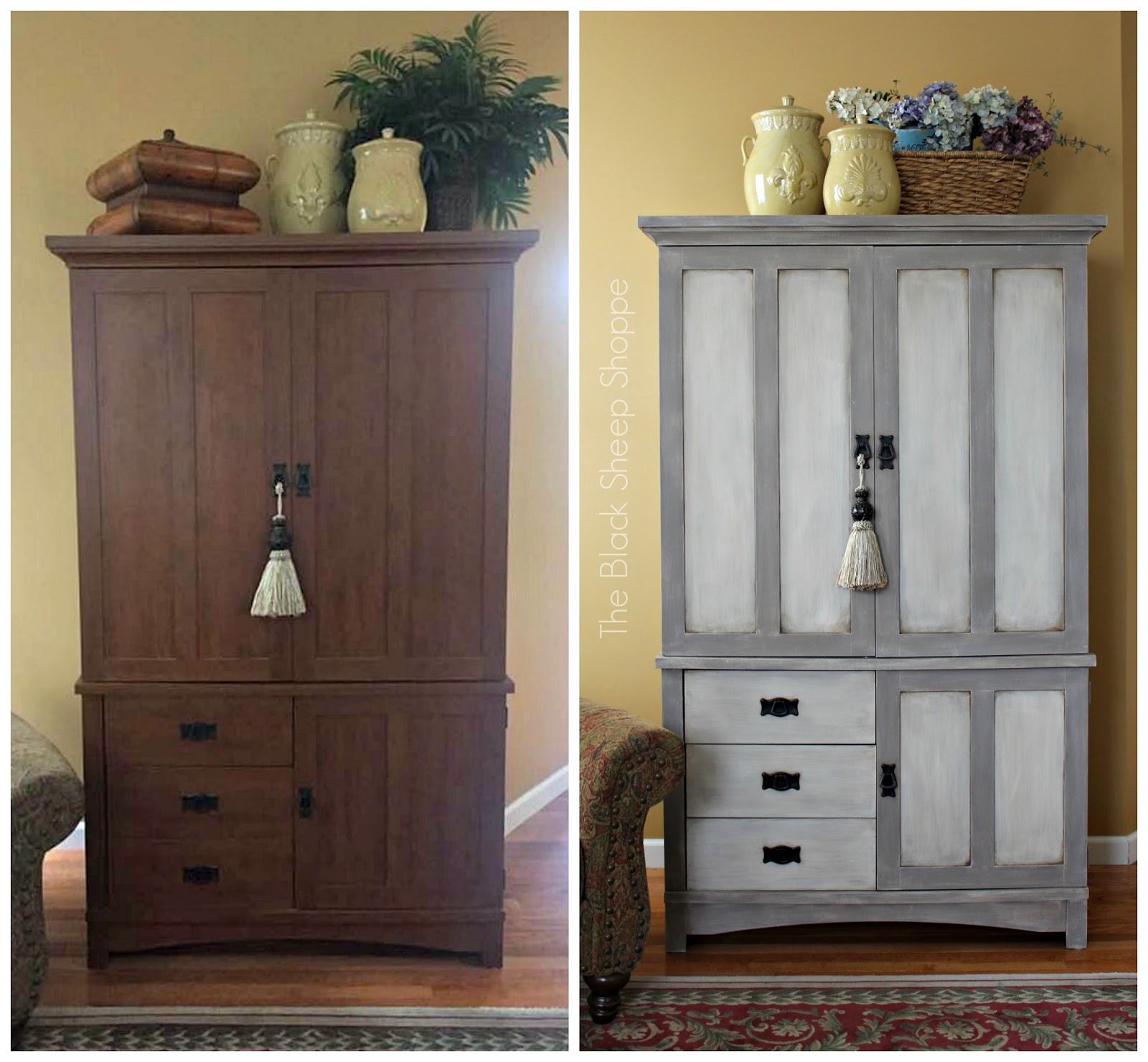 Before and after TV armoire.
