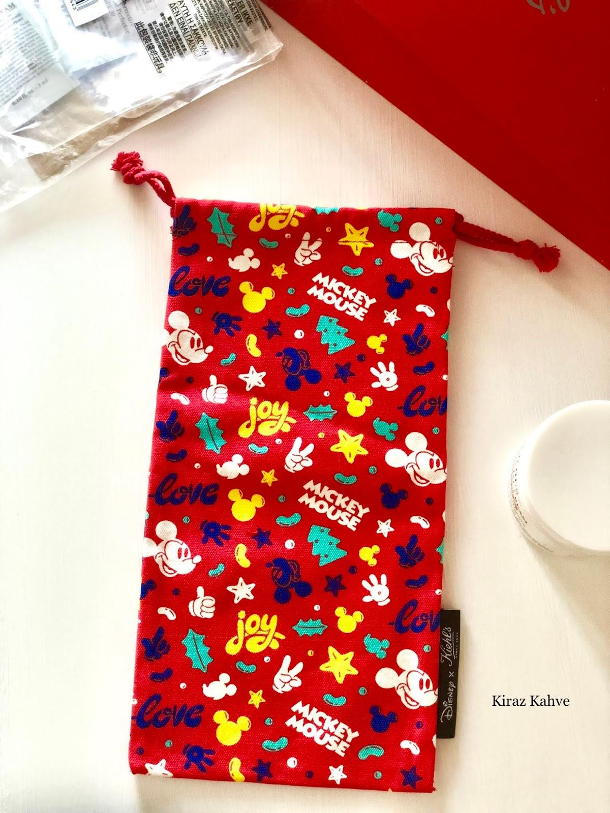 kiehl's mickey mouse kırmızı torba