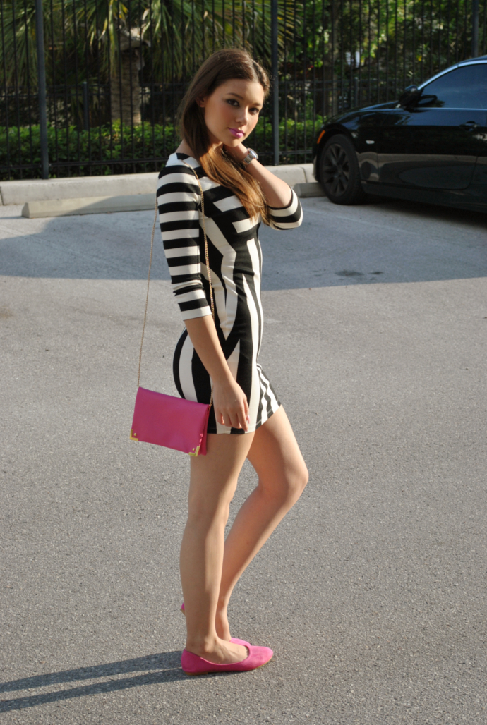 black and white, choies striped dress, fuchsia