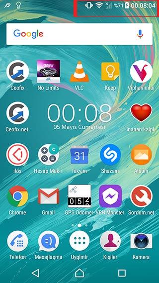 Telefonun Durum çubuğunda saat görünsün!-www.ceofix.com