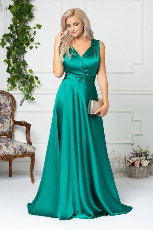 Rochie verde fara maneci eleganta de seara