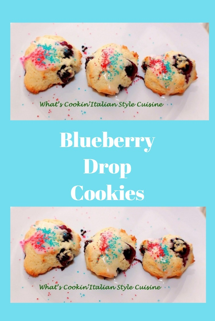 these are a blueberry drop cookie baked and decorated for a patriotic red white and blue holiday themed party cookie