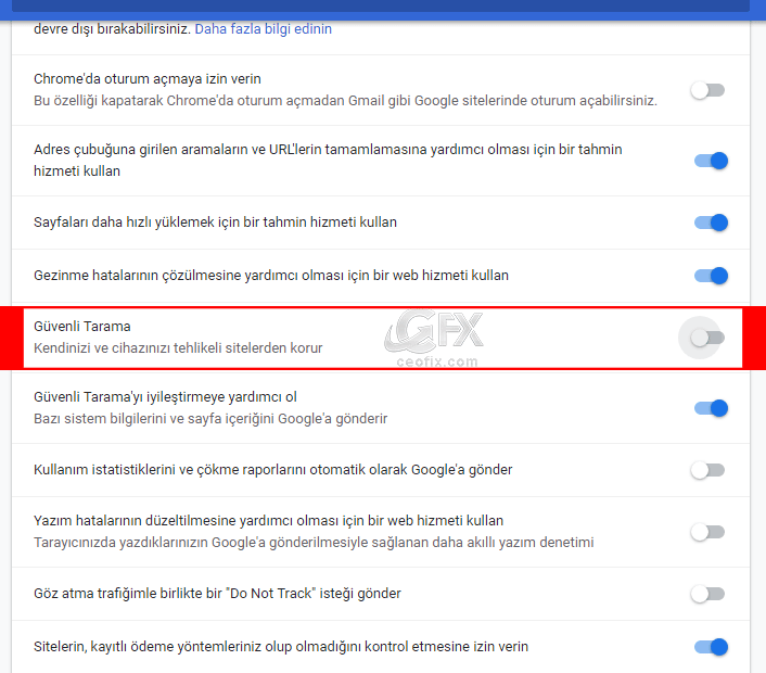 """""""Güvenli Tarama"""" Kendinizi ve cihazınızı tehlikeli sitelerden korur -www.ceofix.com"""
