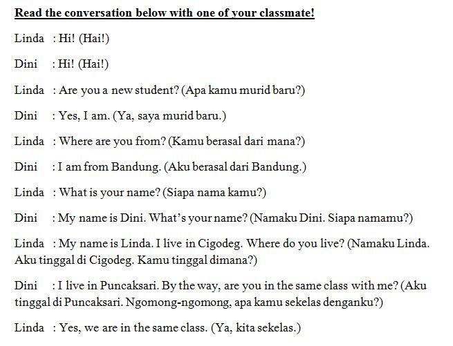 Materi Bahasa Inggris Untuk Smp Kelas Vii Contoh Percakapan Pendek