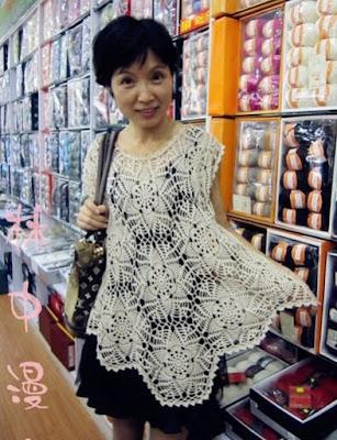 szydelkowa sukienka tunika wzor