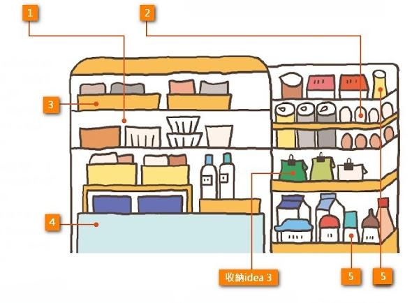 冰箱各層架上收納食品的位置
