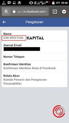 Sukses merubah nama FB menjadi KAPITAL