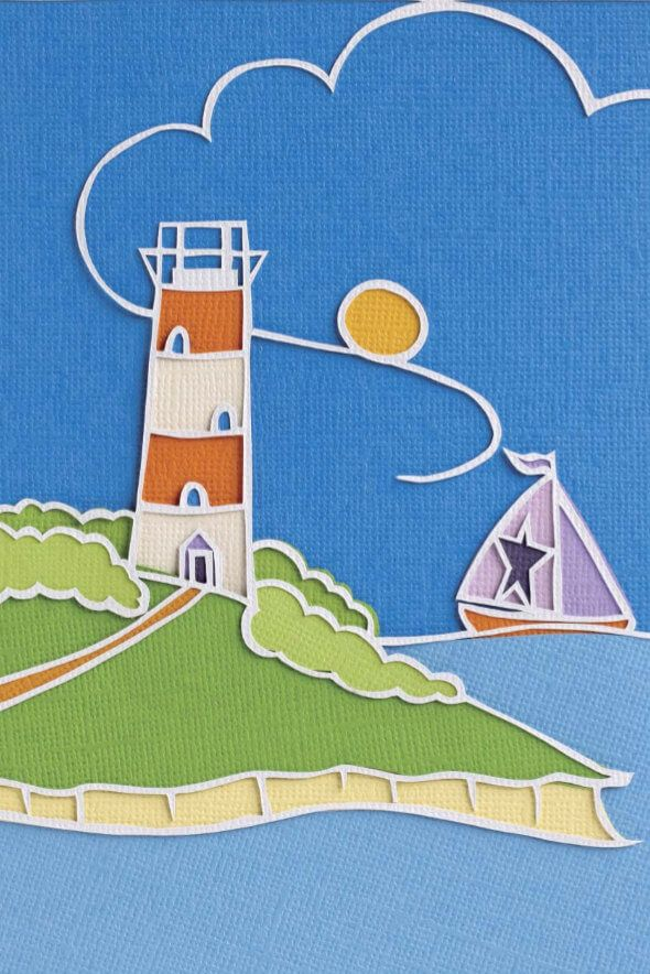 layered papercut lighthouse scene