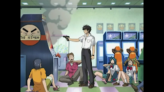Sousuke solves an arcade game by shooting it.