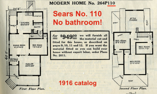 catalog images of the floor plans of the Sears No 110 1912 and 1916  showing no bathroom