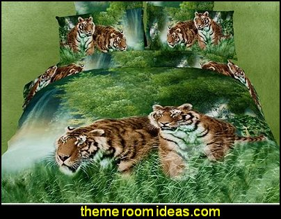 Tiger in the Jungle Print 4 Piece Bedding