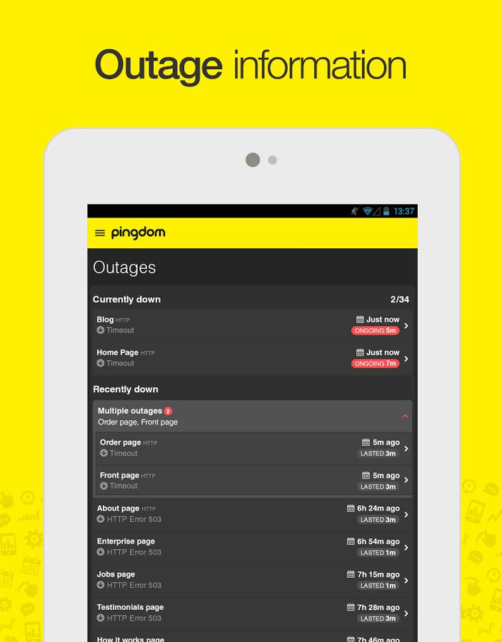 pingdom-android-uygulaması