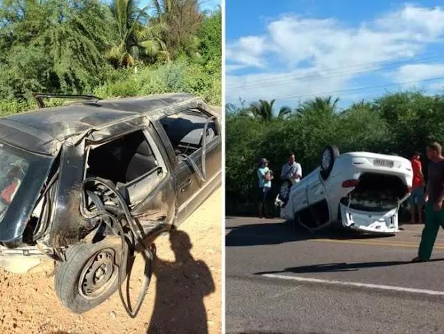 Petrolândia (PE)Acidente entre dois carros provoca capotamento na BR-316, no Sertão de Pernambuco