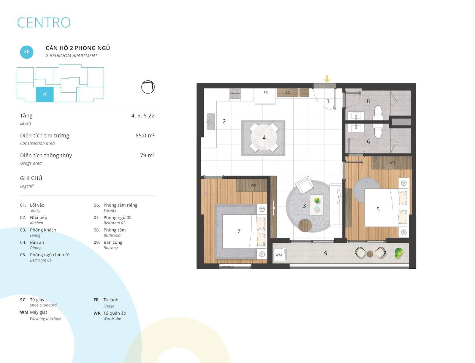 Mặt bằng căn hộ 2 phòng ngủ 79 m2 thông thủy tòa CENTRO