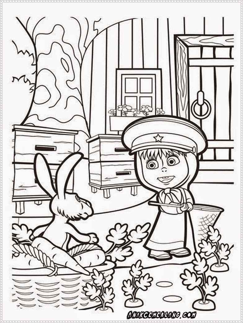 gambar mewarnai masha dan kelinci putih