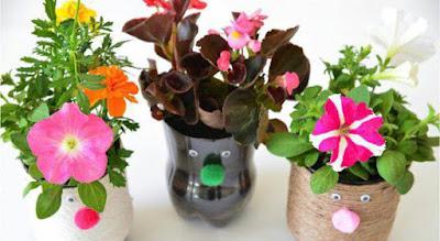 Macetas para niños recicladas con envases plásticos