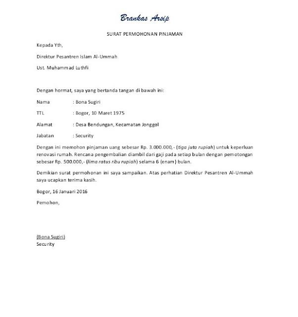 Contoh Surat Peminjaman Uang