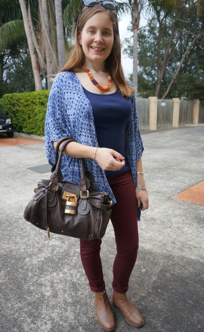 Navy printed kimono and rubbed tank with burgundy pants, tan ankle boots, brown Chloe Paddington bag | AwayFromBlue