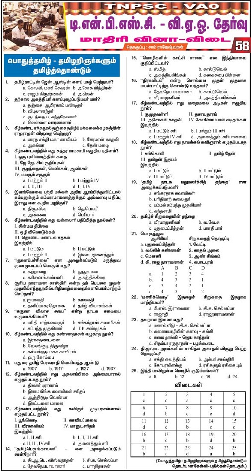 VAO-TNPSC Model Questions Answers Tamil  PolityPart 58 2015