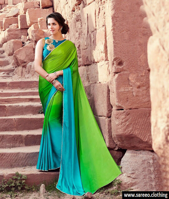 Green Color Designer Moss Silk Plain Saree with Embroidery Saree