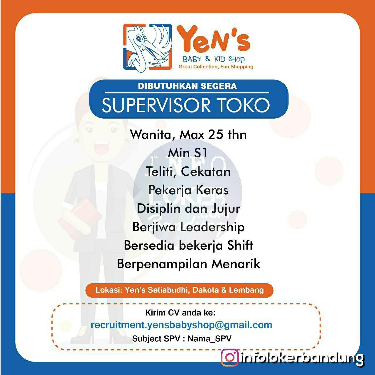 Lowongan Kerja Supervisor Toko Yens Baby & Kid Shop Bandung Desember 2018