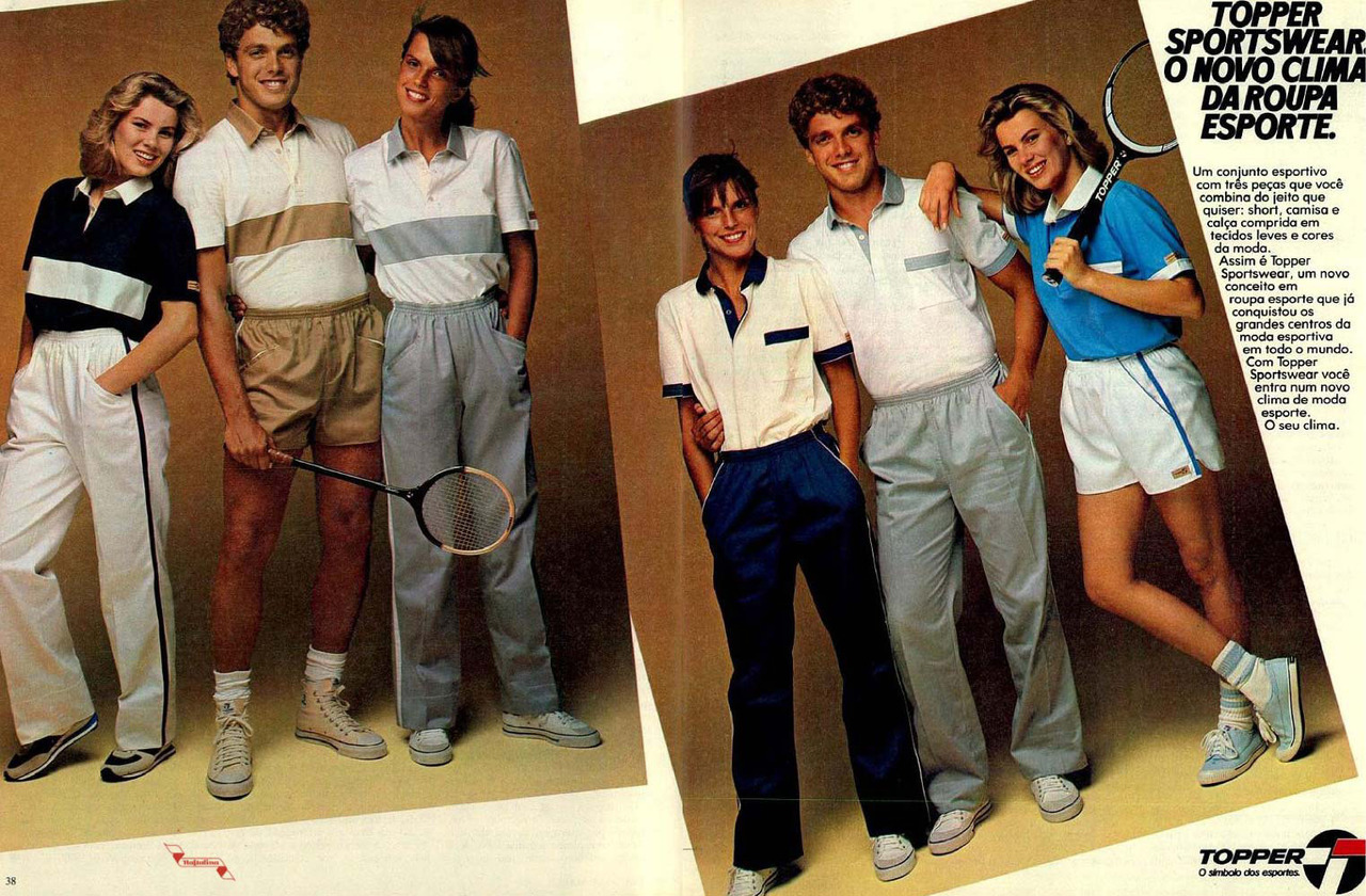 Propaganda da Topper apresentando coleção de moda esporte nos anos 80