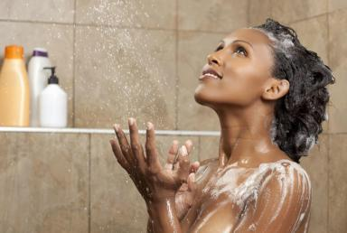Women taking showers together