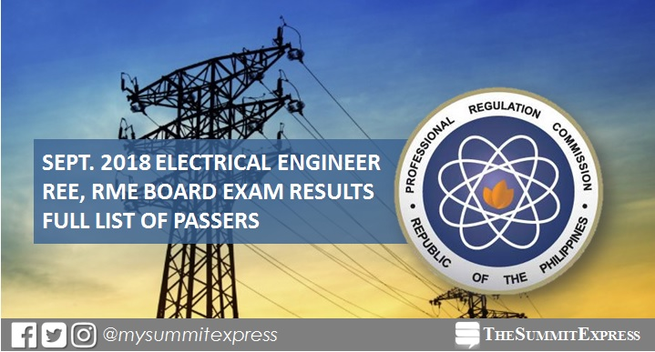 September 2018 Electrical Engineer REE, RME board exam list of passers, top 10