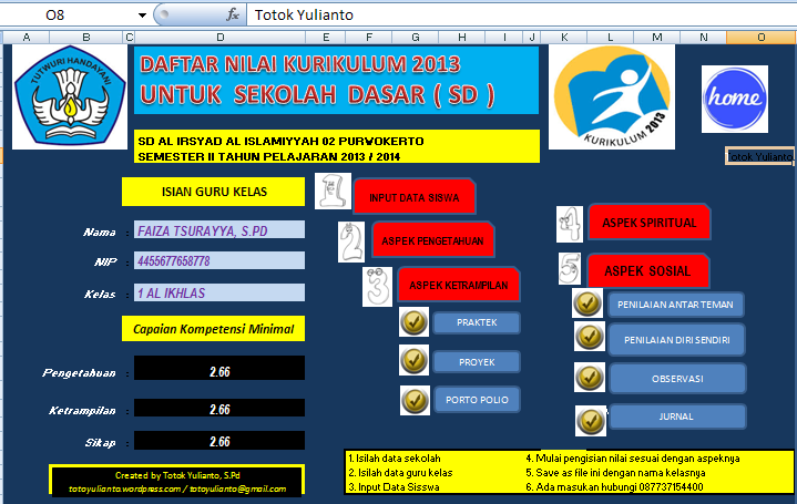 Aplikasi Penilaian Rapor Kurikulum 2013 untuk Sekolah Dasar (SD)