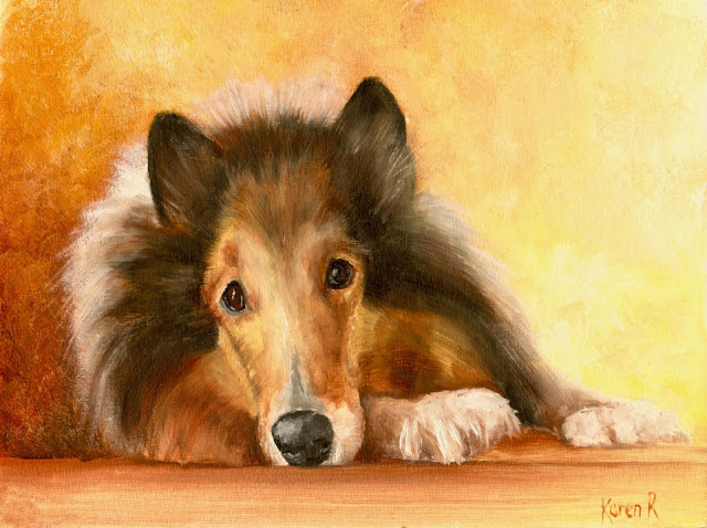 oil painting of a sheltie with his nose on his paw in golden colours