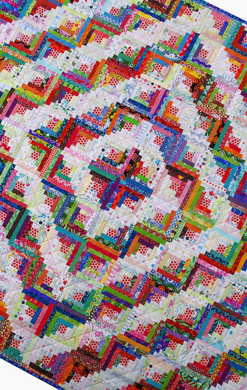 Scrappy Log Cabin Quilt Free Tutorial