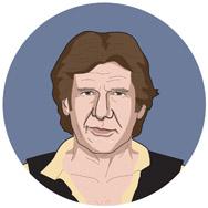 Star Wars: Episodio IV - Una nueva esperanza, 1977: HAN SOLO: Un contrabandista intergaláctico resistente.