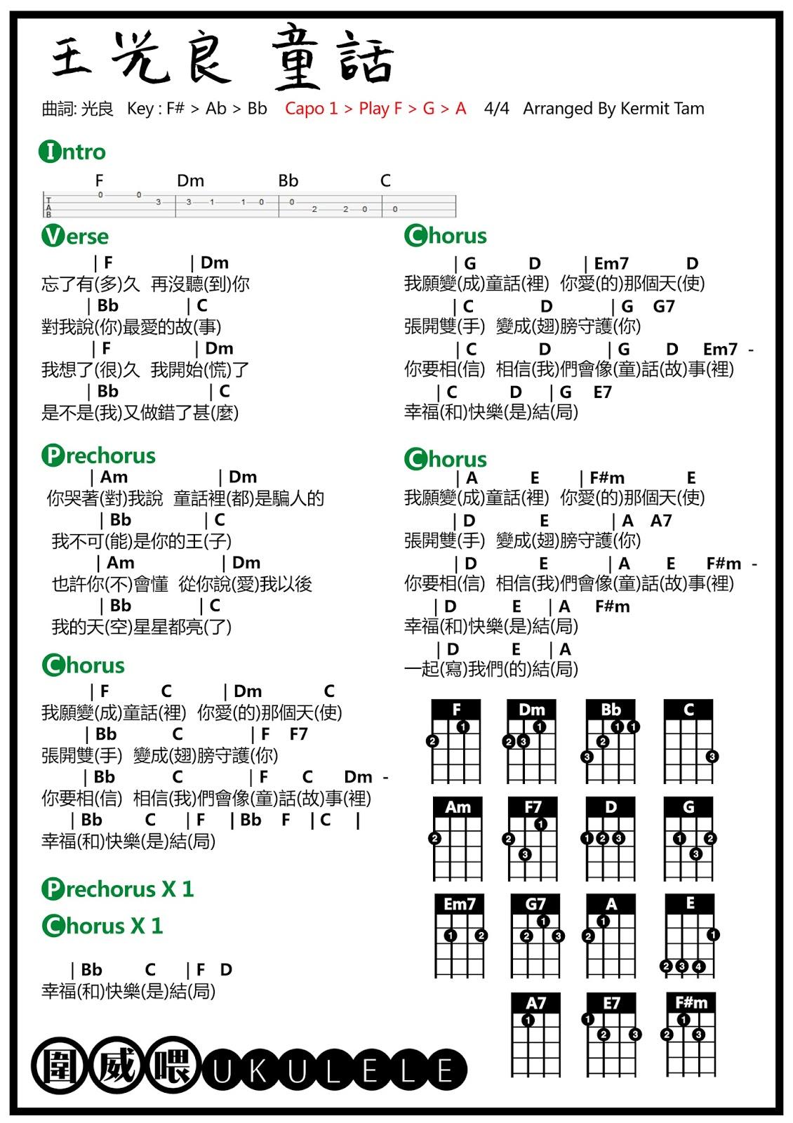 圍威喂 ukulele: 王光良 童話 [ukulele譜]
