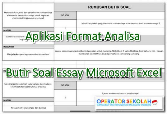 Aplikasi Format Analisa Butir Soal Essay