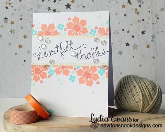 heartfelt thanks card by Lydia Evans | Fanciful Florals stamp set by Newton's Nook Designs