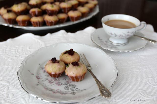 Glazed Hibiscus Lime Mini Muffins