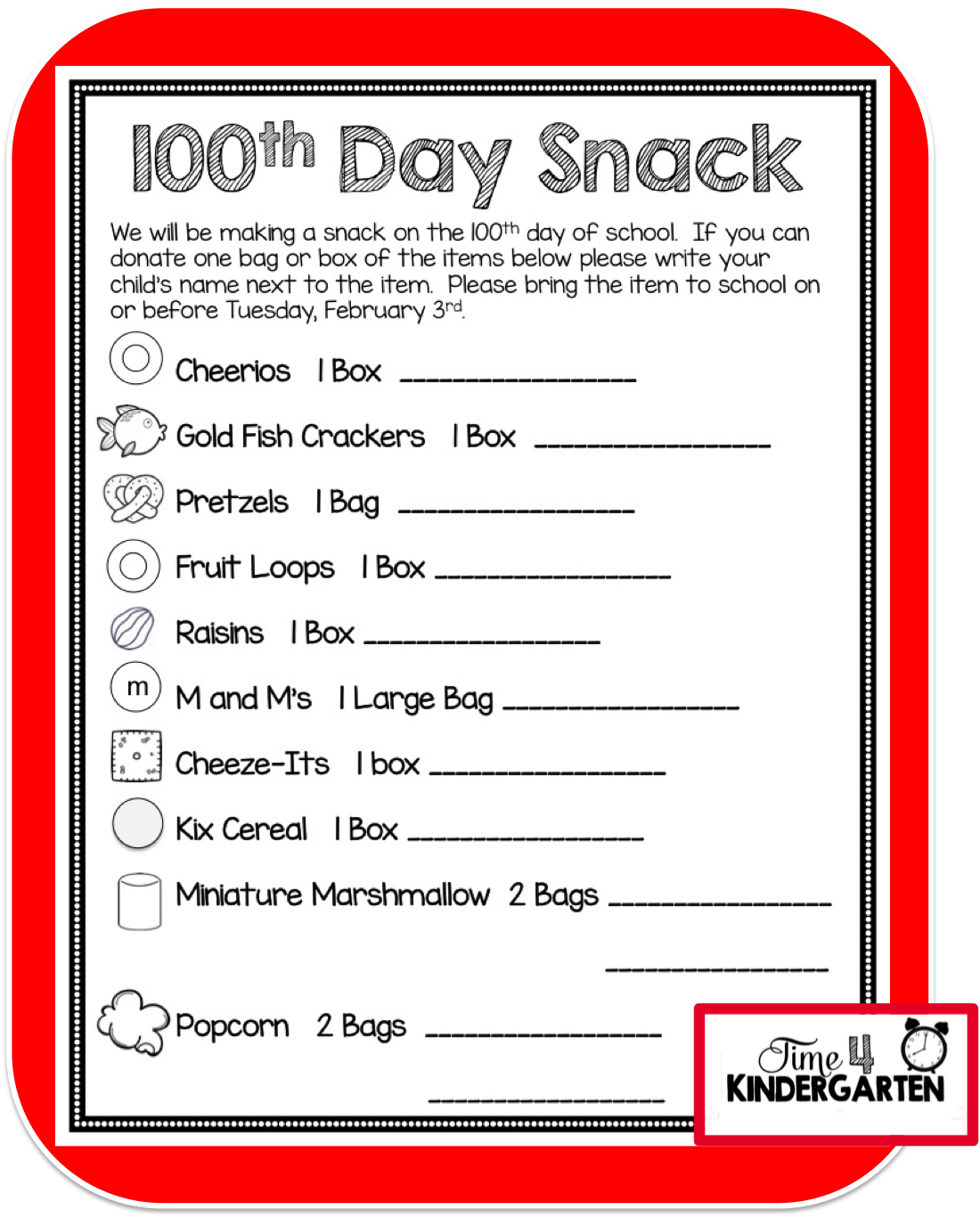 Time 4 Kindergarten How To Celebrate The 100th Day Of School