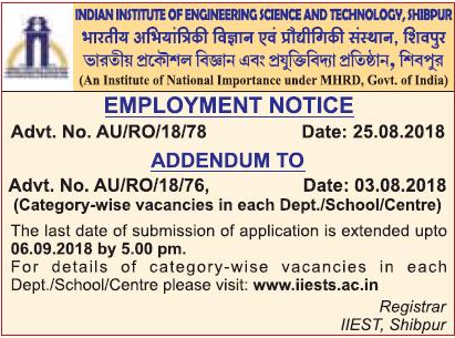 IIEST Shibpur Date Extended Notice