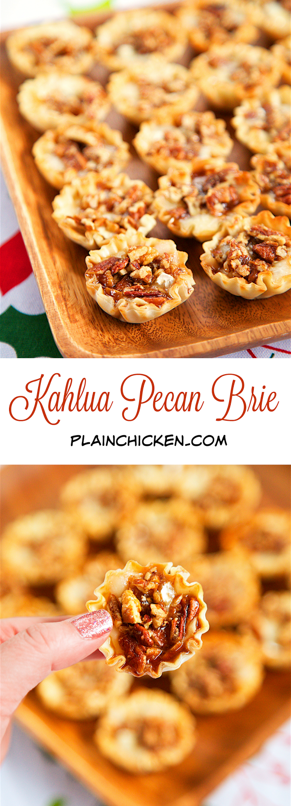 Kahlua Pecan Brie Bites - only 5 ingredients! Can assemble ahead of time and refrigerate until ready to bake. Perfect party food!