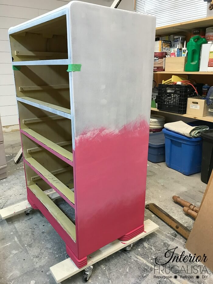 Pink Ombre Waterfall Dresser Dark and Medium Pink Colors