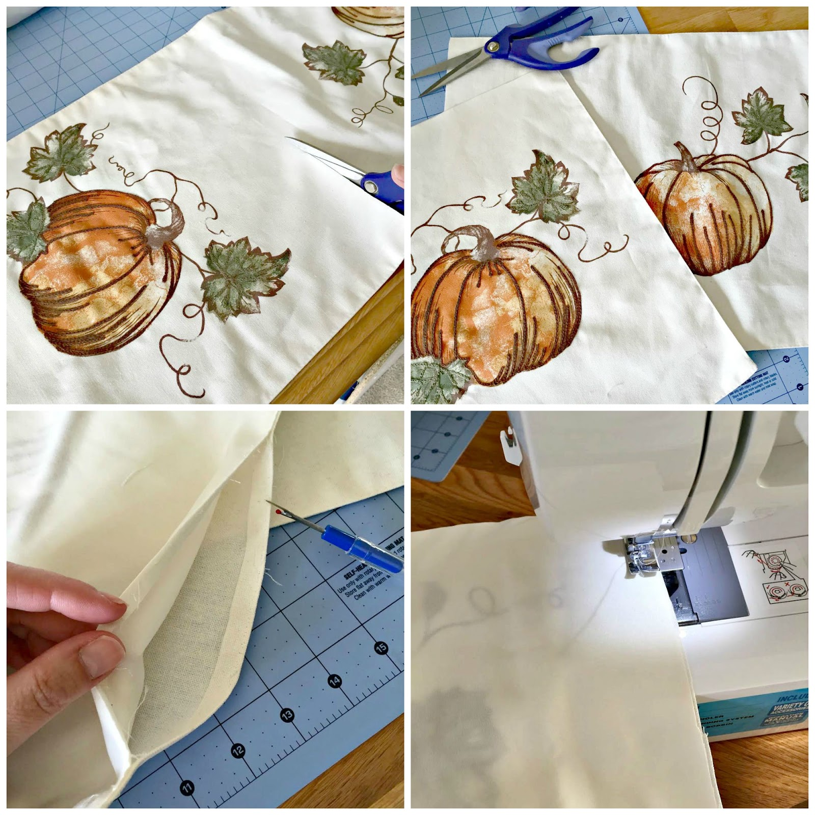 making pillows out of a table runner