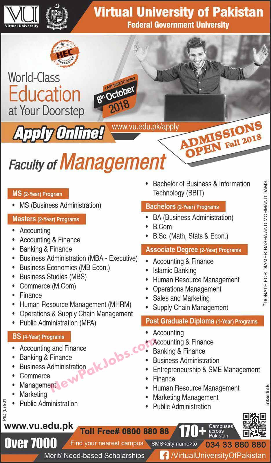 Virtual-university-of-Paksitan-admissions-2018-2019