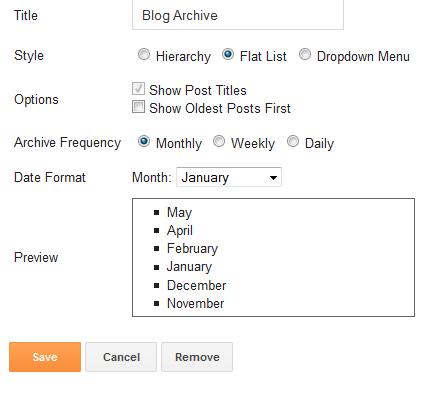 Opsi pengaturan pada widget Blog Archive/Arsip Blog