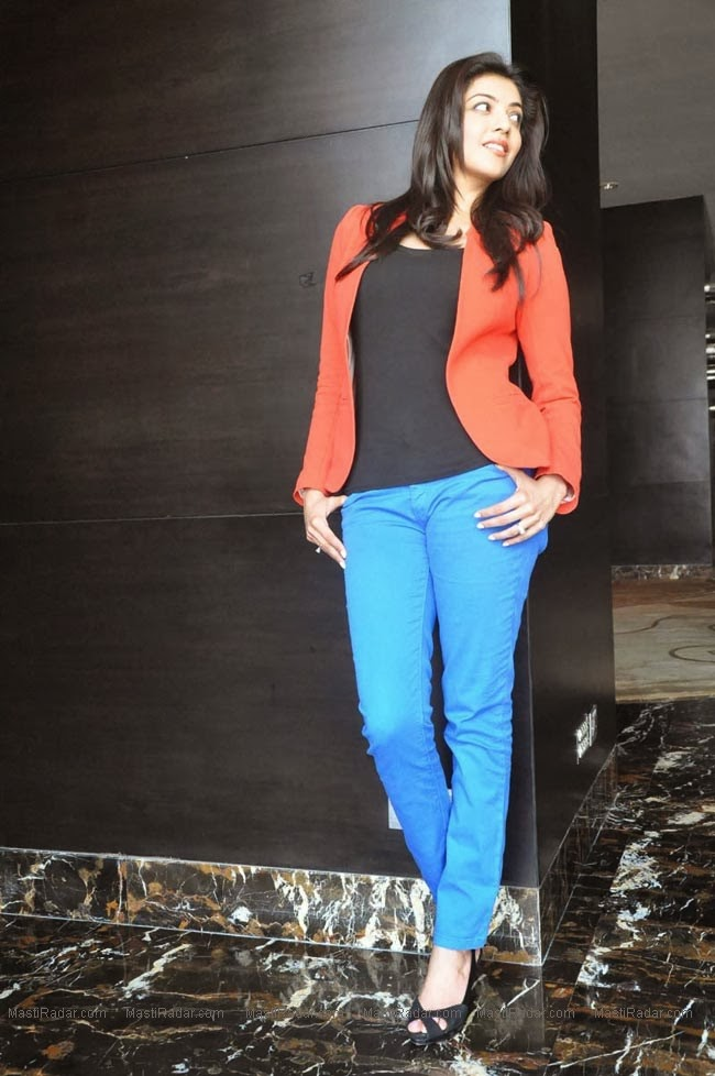 Kajal Agarwal Latest Sexy Hot Photos in Jeans and Red Dress