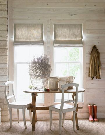 Breathtaking dining area with vintage chairs in modern farmhouse style room with shiplap - found on Hello Lovely Studio