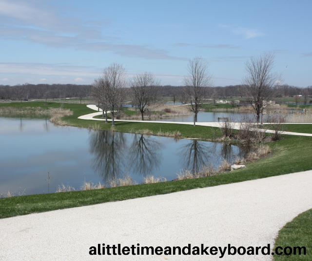 Hiking along the lake at Independence Grove in Libertyville, Illinois.