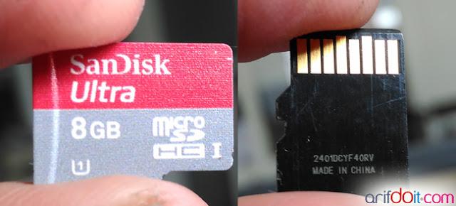 Tampilan MicroSD SanDisk Ultra 8GB UHS-1
