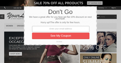 Discount coupons facility of Exit popup Module   knowband