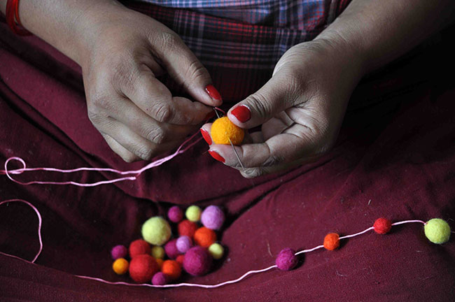 Handmade Pom-Pom Garland from Nepal to support Earthquake Relief