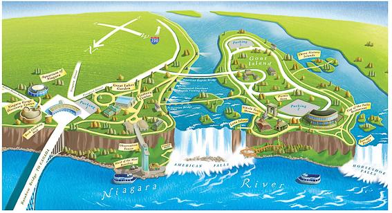 Mapa lado americano de las cataratas del Niagara